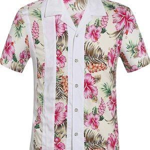 SSLR Men's Shirt Hawaiian Floral White Button Up S